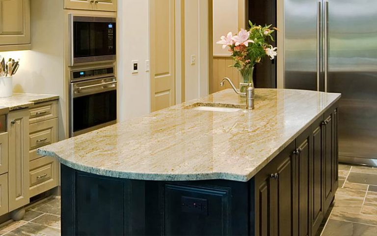 White Granite Countertops Mixed Cabinets Island
