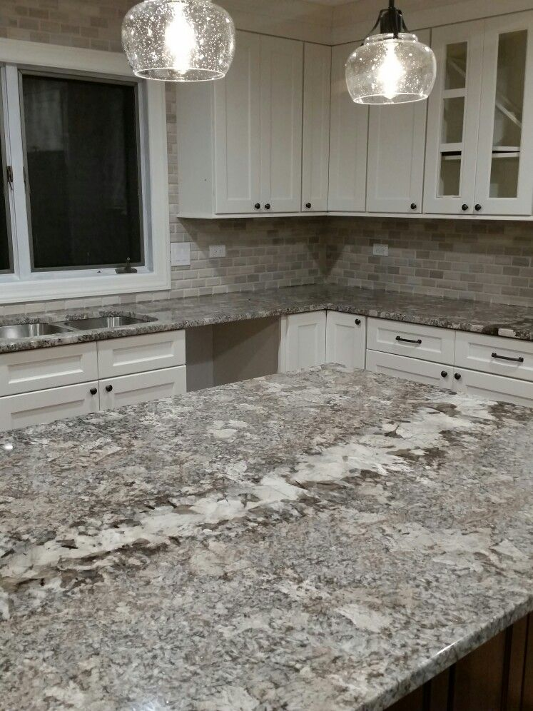 Ganache Granite Kitchen White Cabinets